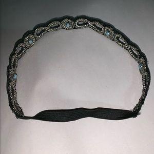 NWT felted elastic headband w SWAROVSKI CRYSTALS